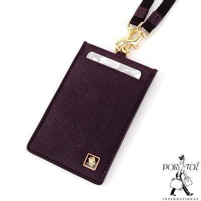 PORTER - 法式時尚BEND掛繩證件套 - 梅洛紅