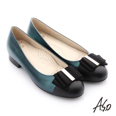 A.S.O 個性美型 全真皮蝴蝶結奈米低跟鞋 蒂芬妮藍色
