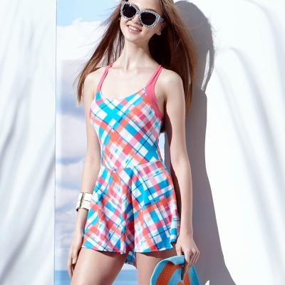 泳裝 連身式 紅藍格紋連身裙式女泳裝 聖手牌