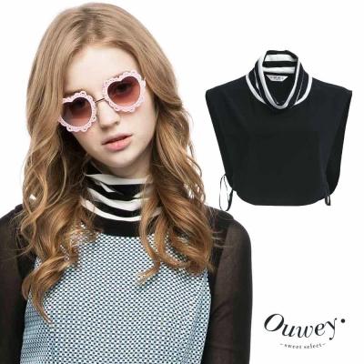 OUWEY歐薇-休閒風條紋反摺裝飾領片