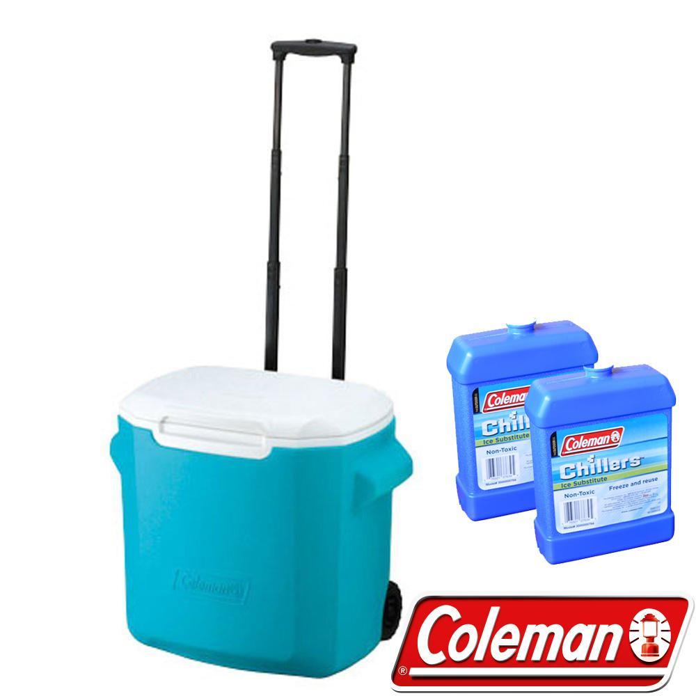 Coleman 0029藍 26.5L拖輪置物型冰桶+冷媒2入 行動冰箱/保冰袋/保冷袋