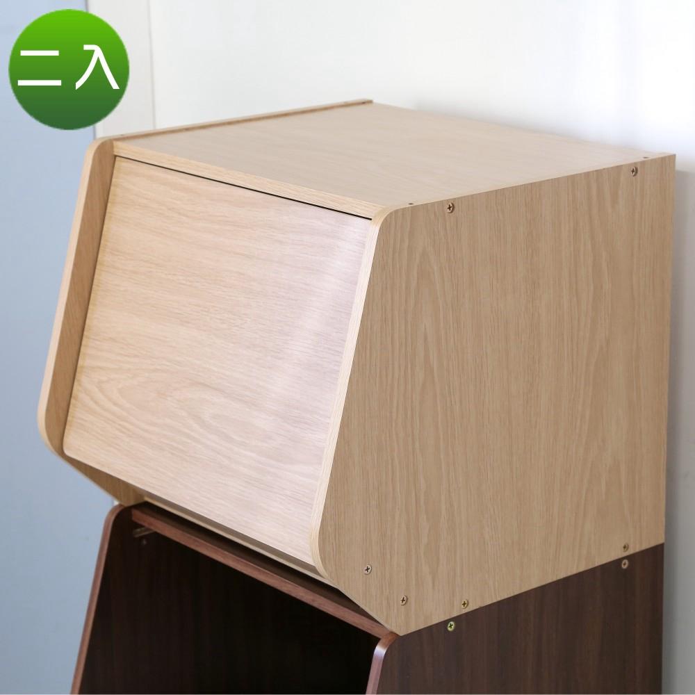 BuyJM可堆疊低甲醛防潑水附門收納櫃/書櫃2入(41x39x35公分)-DIY