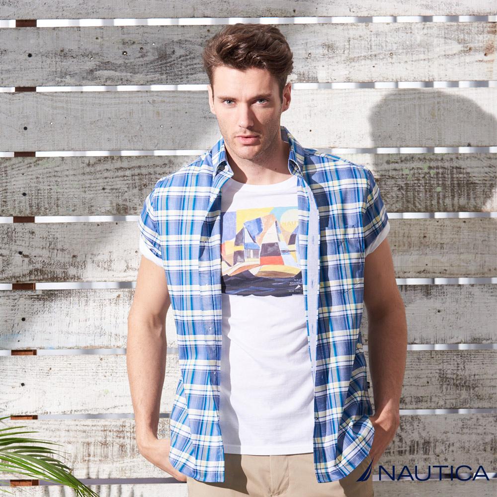Nautica經典格紋短袖襯衫 -黃藍格
