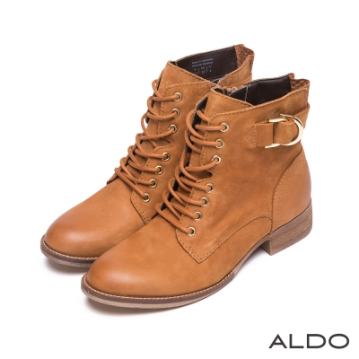 ALDO-真皮交叉編織金屬釦帶木紋粗跟短靴-氣質棕色