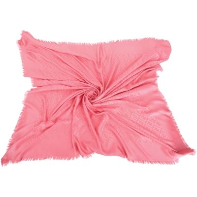 FENDI 蜜粉色雙F織紋絲質流蘇披肩