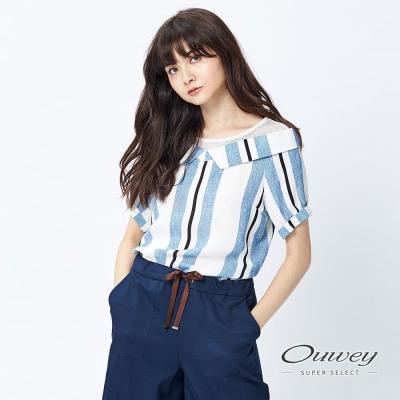 OUWEY歐薇 甜美性感圓領印花上衣(藍)-動態show
