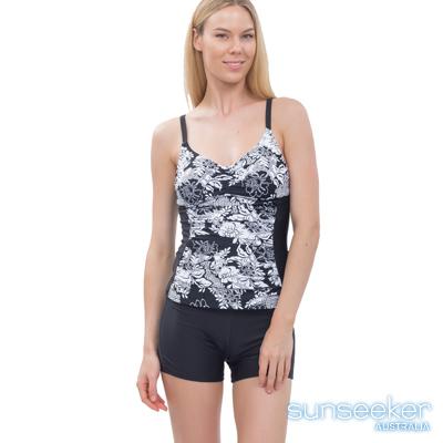 澳洲Sunseeker泳裝機能型小腹剋星兩件式泳衣-黑花