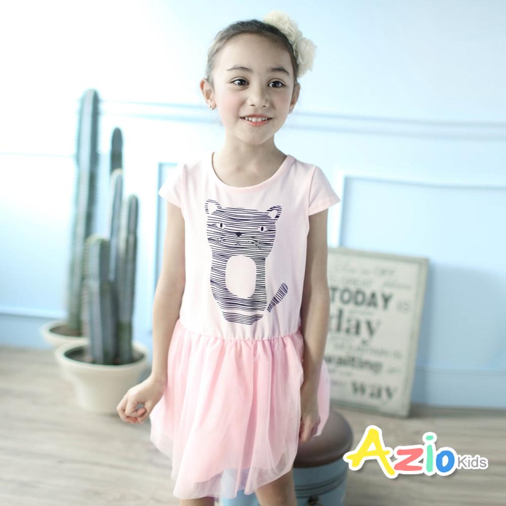 Azio Kids-洋裝 線條貓咪拼接網紗短袖洋裝(粉)