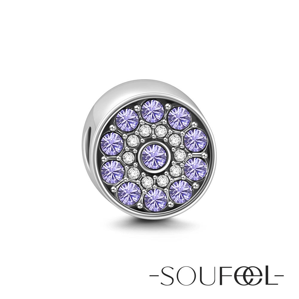 SOUFEEL索菲爾 925純銀珠飾 鑽石糖(紫色) 串珠