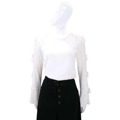 Max Mara-SPORTMAX 白色綁袖設計絲質上衣