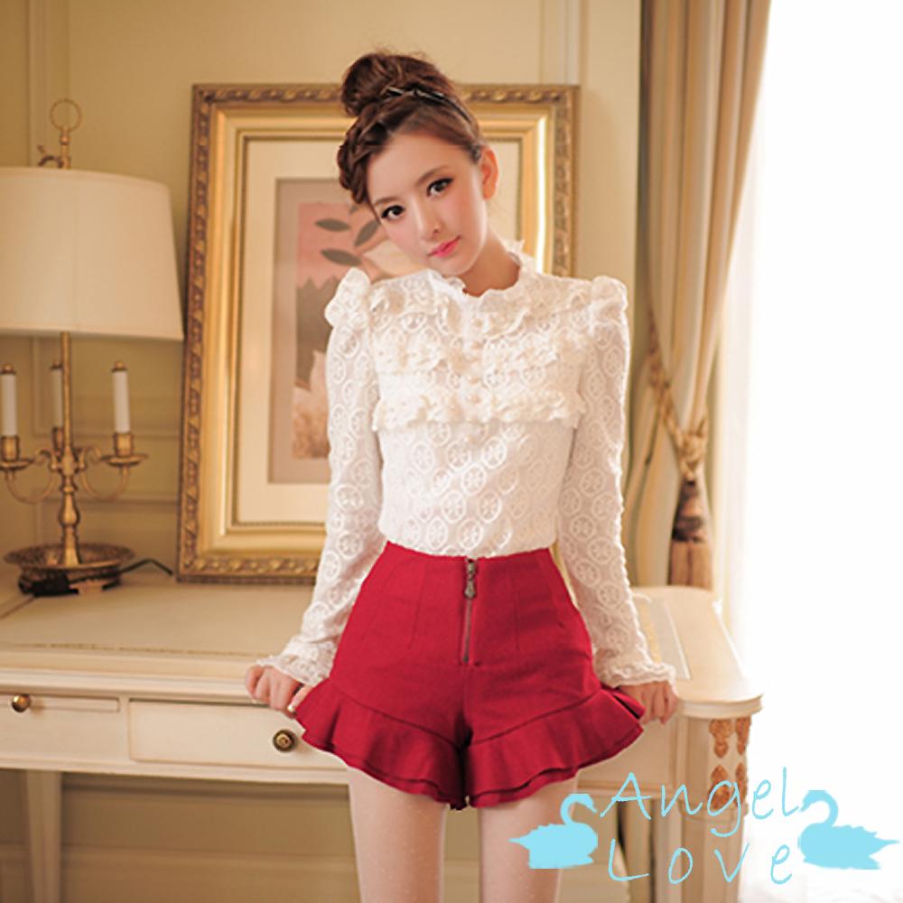 【Angel Love】立領荷葉釘珠蕾絲加絨襯衫 (白色)