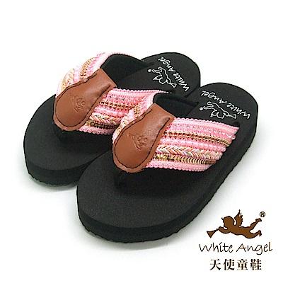 天使童鞋-卡爾蜜雅夾腳親子拖鞋(中-大童)-粉