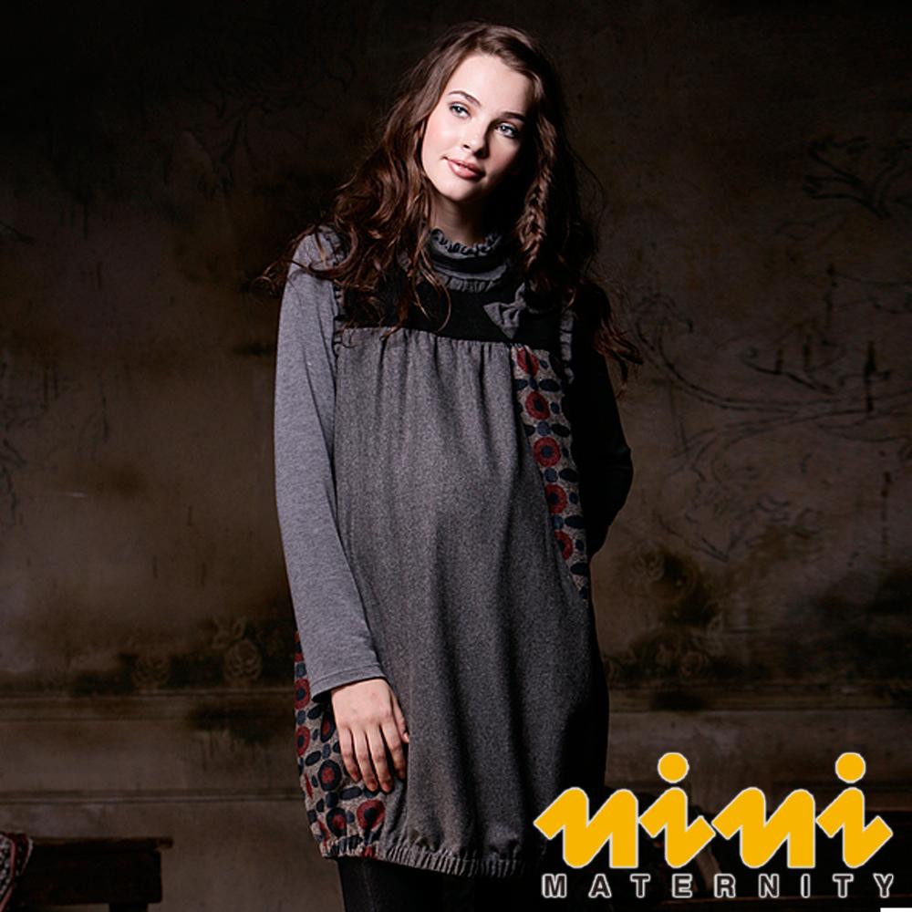 《nini專櫃孕婦裝》甜美時尚秋冬孕婦背心洋裝-灰(H2W00)