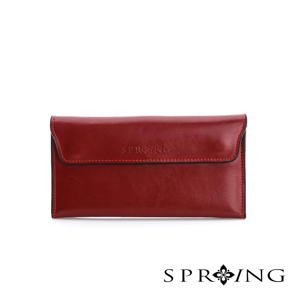 SPRING - 極致簡約牛皮磁扣長夾 - 紅