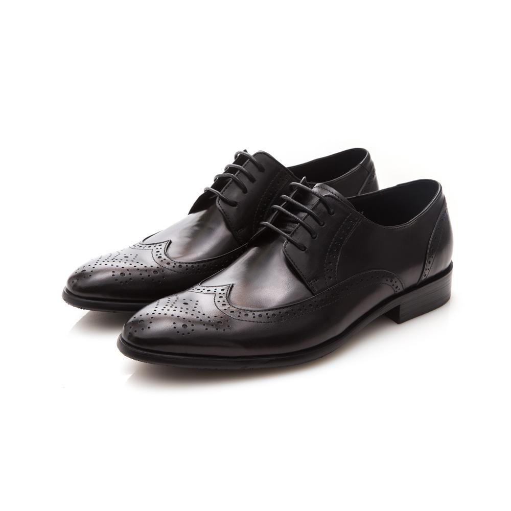 ALLEGREZZA-真皮男鞋-經典魅力-全真皮藝紋雕花尖頭綁帶鞋黑色