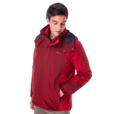 【hilltop山頂鳥】男款GoreTex兩件式防水羽絨拆袖短大衣F22MU0紅