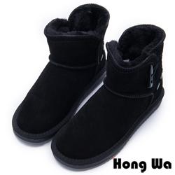 2.Maa - 日系風格牛麂皮牛角扣雪靴 - 黑