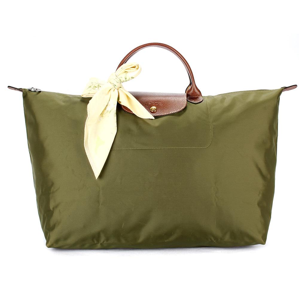 Longchamp 折疊大型水餃包(短提把/卡其綠色)-加贈帕巾