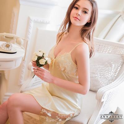 大尺碼Annabery粉嫩鵝黃色系質感緞面睡衣 金色 L-2L Annabery