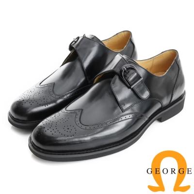 GEORGE 喬治-避震系列 全真皮金屬飾扣直套式牛津鞋(男)-黑色