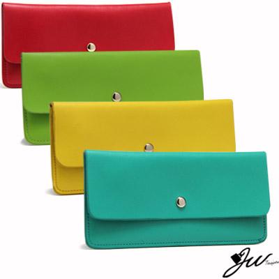 【J.W】幻彩霓虹~繽紛糖果色系手作牛皮長夾(共8色- 藍/黃/綠/紅)