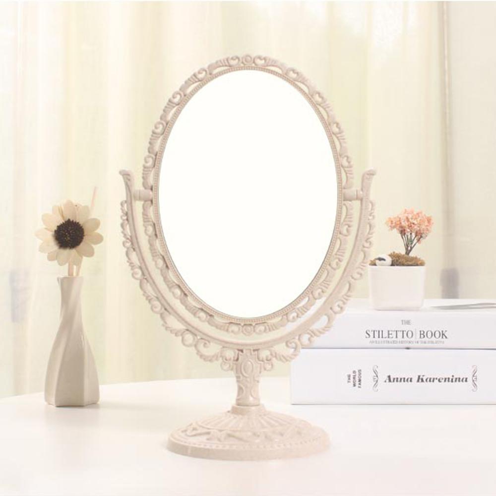 幸福揚邑 歐式麥稈化妝鏡旋轉放大雙面桌鏡-橢圓米