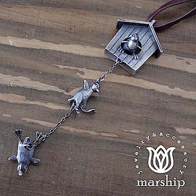 Marship 日本銀飾品牌 小企鵝皮革項鍊 一個接著一個的去冒險 925純銀 古董銀款