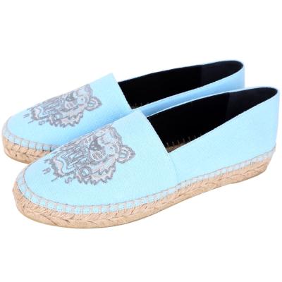 KENZO Tiger 老虎刺繡帆布草編便鞋(水藍色)