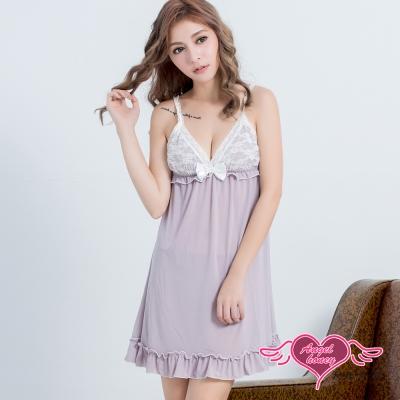 性感睡衣 香氛夜晚 甜美蕾絲兩件式連身睡衣組(淺紫F) AngelHoney天使霓裳