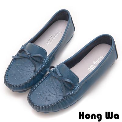 Hong Wa 經典蝴蝶結飾扣牛皮休閒鞋 - 藍