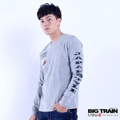BIG TRAIN 硬派丹寧羅紋束口長袖T-男-麻灰