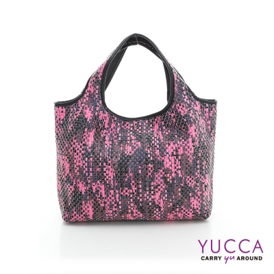 YUCCA - 國際潮流配色手工編織包-紫紅色-D0118012C85