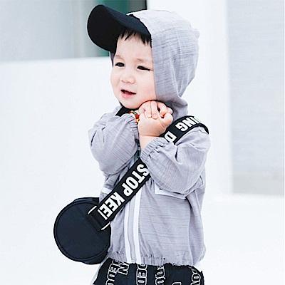 Baby unicorn 灰底白線條連帽長袖防曬薄外套