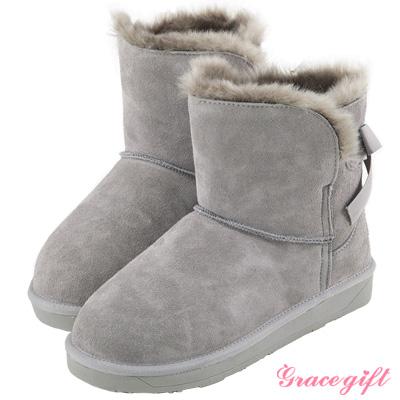 Grace gift-真皮後蝴蝶綁結雪靴 灰