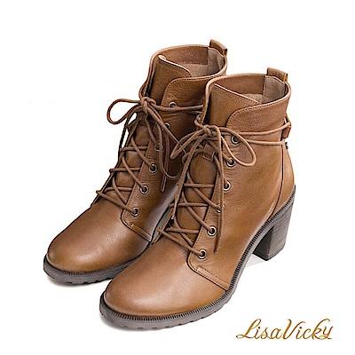 LisaVicky 嬉皮混搭綁帶粗高跟短靴-紅棕色
