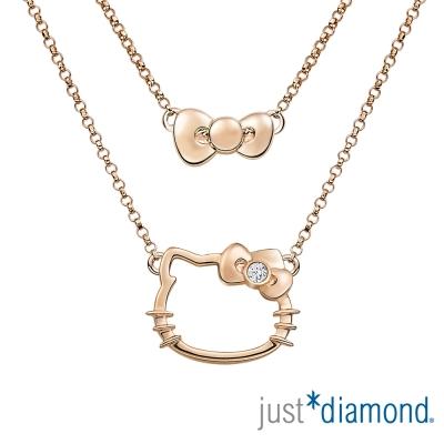 Just Diamond 18K玫瑰金鑽石項鍊-愛戀貓語