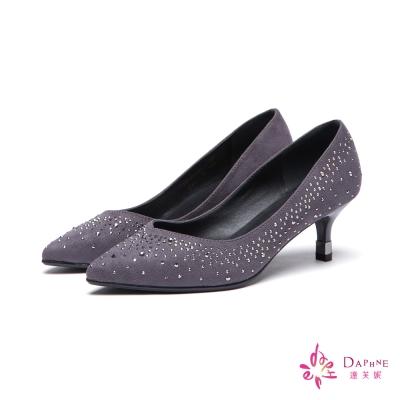 達芙妮DAPHNE 高跟鞋-小V剪裁水鑽絨布尖頭鞋-灰