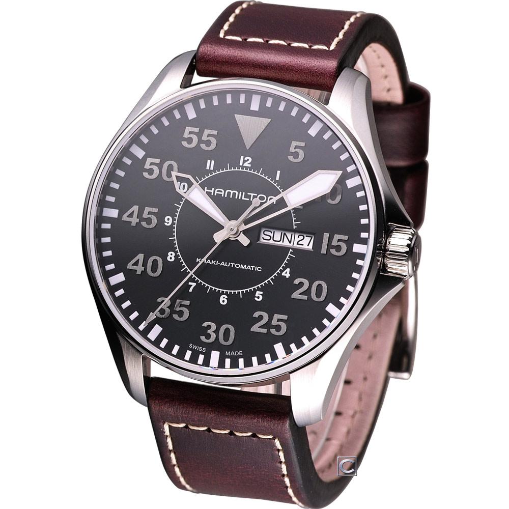 (無卡分期12期)HAMILTON Khaki Pilot 航空飛行自動機械腕錶-黑/46mm