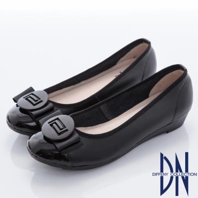 DN-通勤首選-蝴蝶結飾扣妝點全真皮低跟鞋-黑