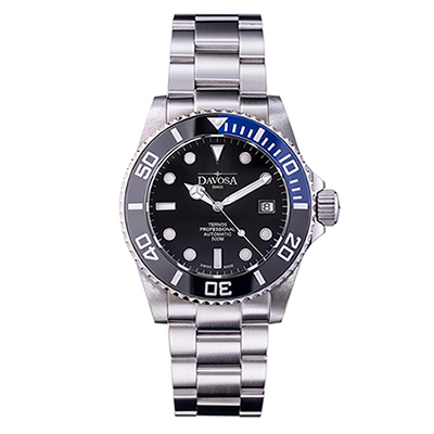 DAVOSA Ternos TT雙色陶瓷外圈自動排氦潛水專用錶-藍色/黑面/42mm