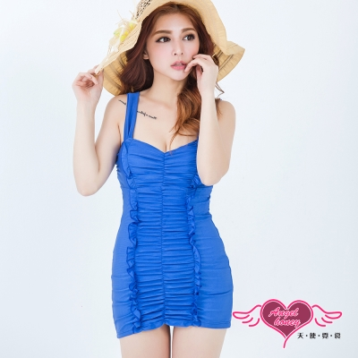 泳衣 優雅氣質 一件式連身泳裝(寶藍M~XL)AngelHoney天使霓裳