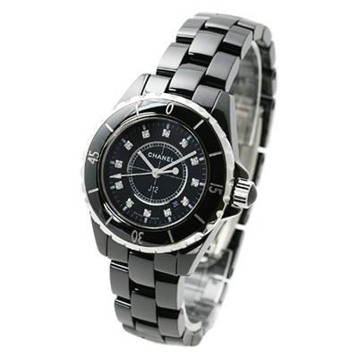 CHANEL 香奈兒 J12 H1625 經典陶瓷12顆鑽石英錶-黑/33mm
