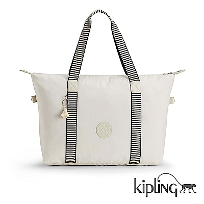 Kipling 手提包 象牙白混搭條紋-中