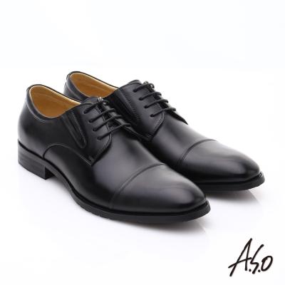 A.S.O職人通勤 時尚真皮綁帶皮鞋 黑色