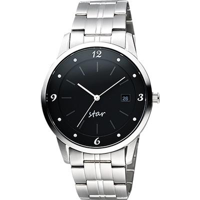 STAR 藝術時尚簡約風情腕錶-黑x銀/40mm