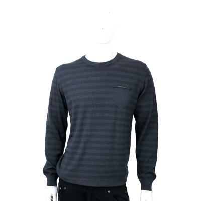 TRUSSARDI 100%羊毛撞色條紋針織羊毛衫