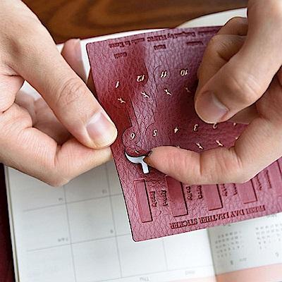PLEPIC 鮮葉造型皮革標籤貼-勃根地紅