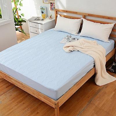 JOY 花紋床包式專利雙人防水保潔墊-藍