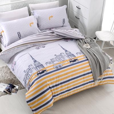 COOZICASA倫敦風情 雙人四件式吸濕排汗天絲兩用被床包組