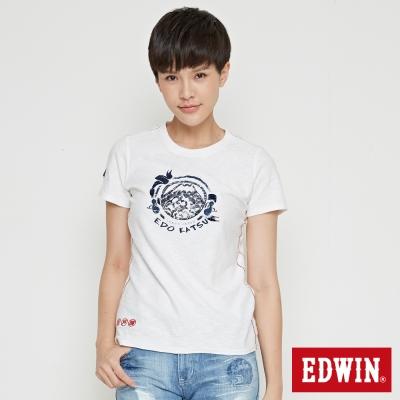 EDWIN EDO KATSU 江戶勝LOGO短袖T恤-女-米白